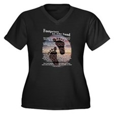 Footprints In The Sand Women's Plus Size V-Neck Da
