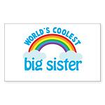 world's coolest big sister rainbow Sticker (Rectan