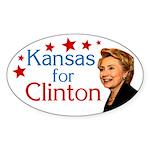 Kansas for Clinton Oval Bumpersticker