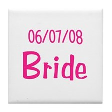 Bride and Groom Abstract Design Tile Coaster