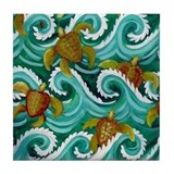 Baby Sea Turtles Tile Coaster