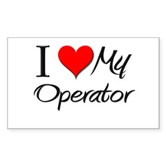 I Heart My Operator Rectangle Sticker