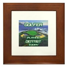 """Golfer Playing Dentist Today"" Framed Tile"