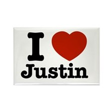 I love Justin Rectangle Magnet (10 pack)