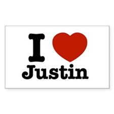 I love Justin Rectangle Decal