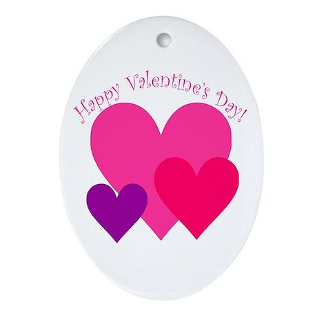 Valentine's Day Hearts Trio Oval Ornament