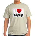 I Love Ladybugs (Front) Ash Grey T-Shirt
