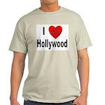I Love Hollywood (Front) Ash Grey T-Shirt