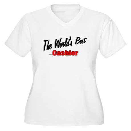 "'The World's Best Cashier"" Women's Plus Size V-Nec"