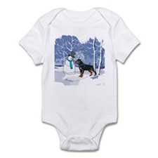 Rottweiler & Snowman Christmas Infant Bodysuit