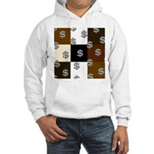 Dollar Sign Pattern Brown Pat Hoodie