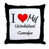 I Love My Uzbekistani Grandpa Throw Pillow