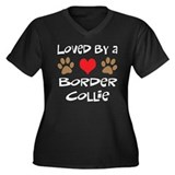 Loved By A Border Collie Women's Plus Size V-Neck