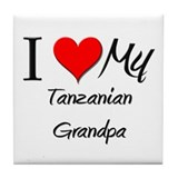 I Love My Tanzanian Grandpa Tile Coaster