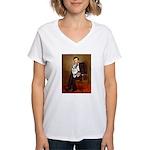 Lincoln's Corgi (Bl.M) Women's V-Neck T-Shirt
