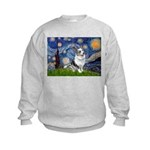 Starry Welsh Corgi (Bl.M) Kids Sweatshirt