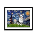 Starry Welsh Corgi (Bl.M) Framed Panel Print