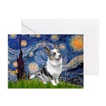 Starry Welsh Corgi (Bl.M) Greeting Cards (Pk of 10