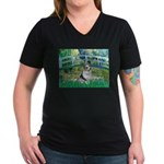 Bridge / Welsh Corgi (Bl.M) Women's V-Neck Dark T-
