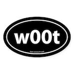 w00t Euro Auto Bumper Sticker -Black (Oval)