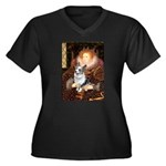 The Queen's Corgi (Bl.M) Women's Plus Size V-Neck
