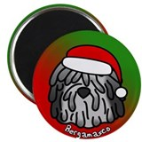 Cartoon Bergamasco Christmas Magnet (Grey)