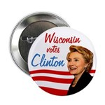 Wisconsin Votes Clinton (10 button pack)