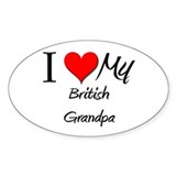 I Love My British Grandpa Oval Decal