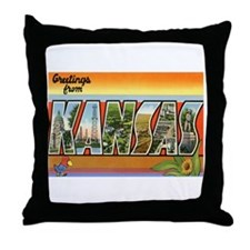 Greetings from Kansas Throw Pillow
