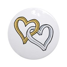 GOLD & SILVER HEARTS Ornament (Round)