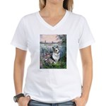 The Seine - Corgi (Bl.M) Women's V-Neck T-Shirt