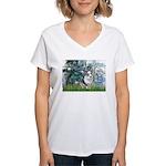 Lilies (#1) - Corgi (Bl.M) Women's V-Neck T-Shirt