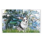 Lilies (#1) - Corgi (Bl.M) Sticker (Rectangle)