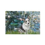 Lilies (#1) - Corgi (Bl.M) Rectangle Magnet