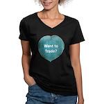 Want to trade hostas? Women's V-Neck Dark T-Shirt