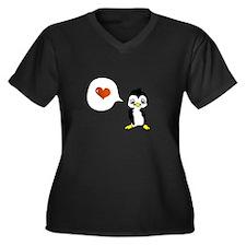 Penguin Shirt Women's Plus Size V-Neck Dark T-Shir