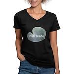 Will trade for hostas Women's V-Neck Dark T-Shirt