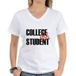 Off Duty College Student Women's V-Neck T-Shirt