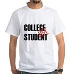 Off Duty College Student White T-Shirt