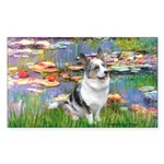 Lilies (#2) - Corgi (Bl.M) Sticker (Rectangle)