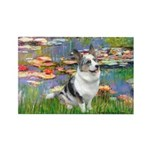 Lilies (#2) - Corgi (Bl.M) Rectangle Magnet
