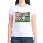 Lilies (#2) - Corgi (Bl.M) Jr. Ringer T-Shirt