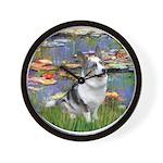 Lilies (#2) - Corgi (Bl.M) Wall Clock