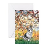 Spring - Corgi (Bl.M) Greeting Cards (Pk of 10)