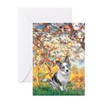 Spring - Corgi (Bl.M) Greeting Card