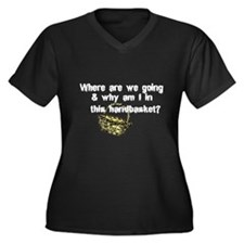 ...in a Handbasket Women's Plus Size V-Neck Dark T