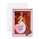 Kiss Me! Pin Up Stamp Greeting Card
