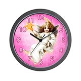 Pretty Angel in a Pink Sky Shabby Chic Wall Clock