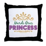 Mardi Gras Princess Throw Pillow