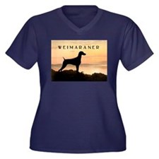 Weimaraner Sunset Women's Plus Size V-Neck Dark T-